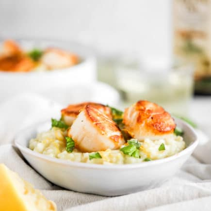 Lemon Basil Risotto with Seared Scallops