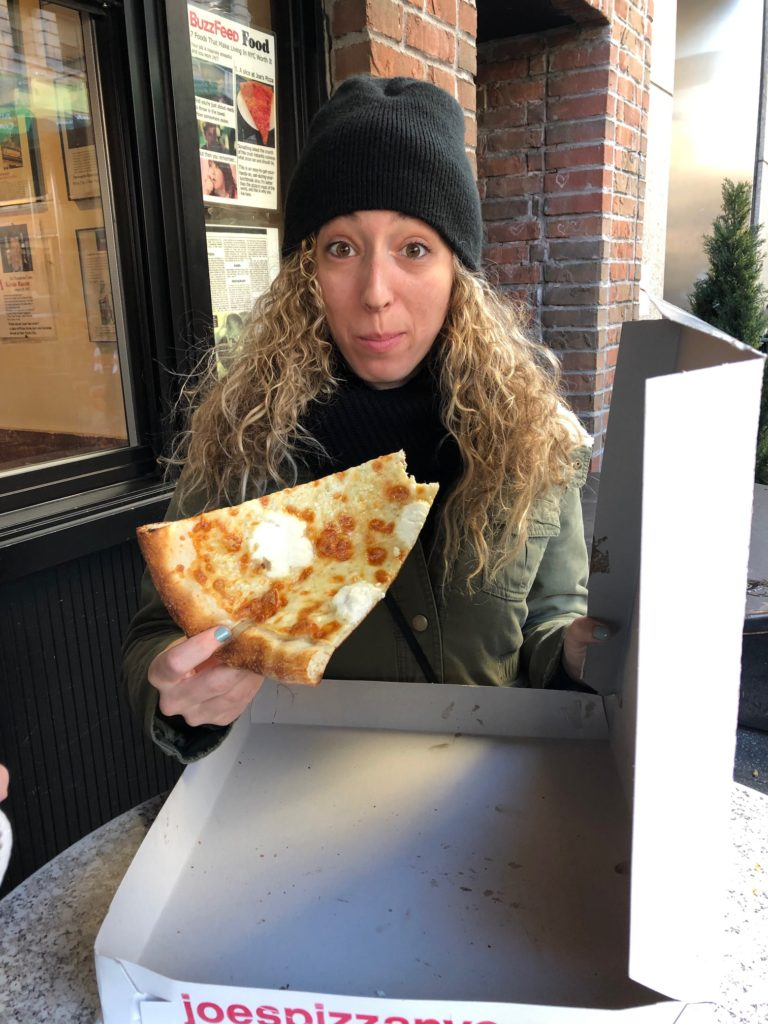 New York Travel Guide - Joes Pizza - my sister with NOT the slice I told you to get