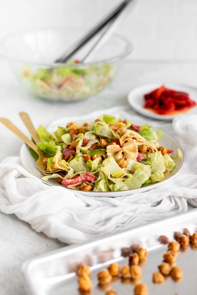 Caesar Salad with Pasta and Crispy Chickpeas