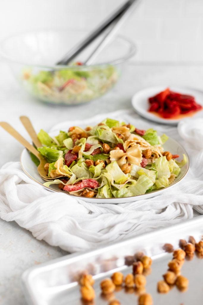 Caesar Salad with Pasta and Crispy Chickpeas