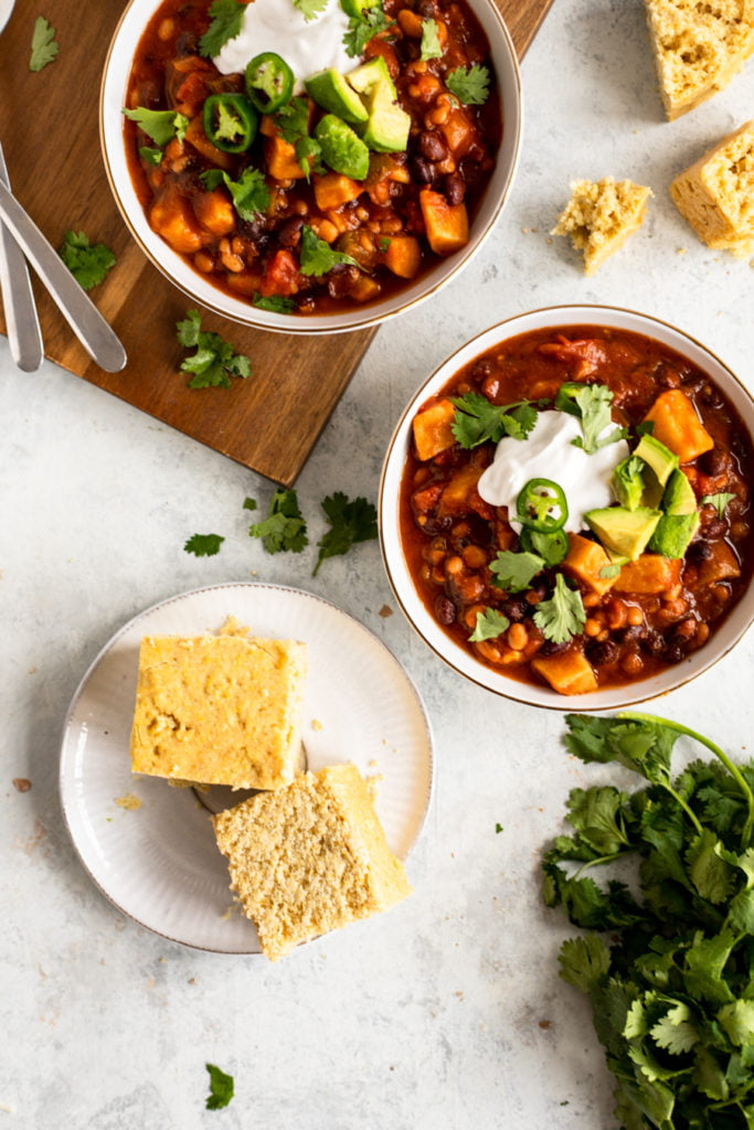Fall Chili Recipe in bowls with cornbread in focus