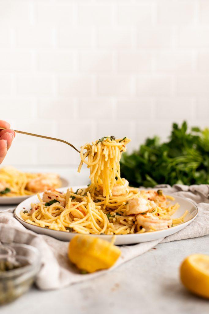 lemon pasta with shrimp on form