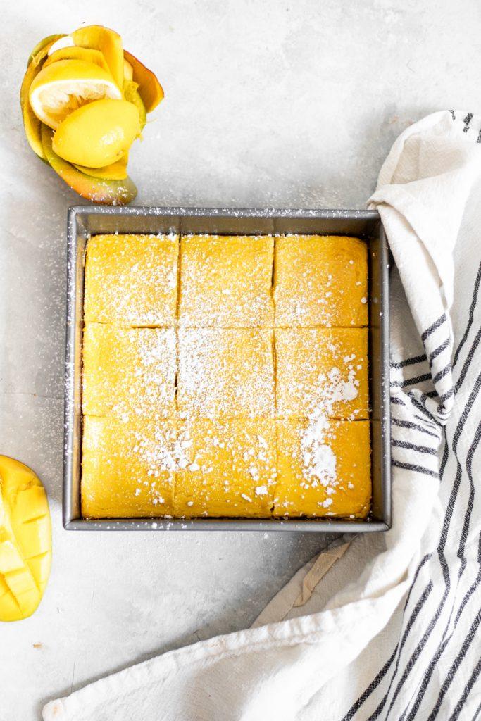 healthy mango bars, overhead shot