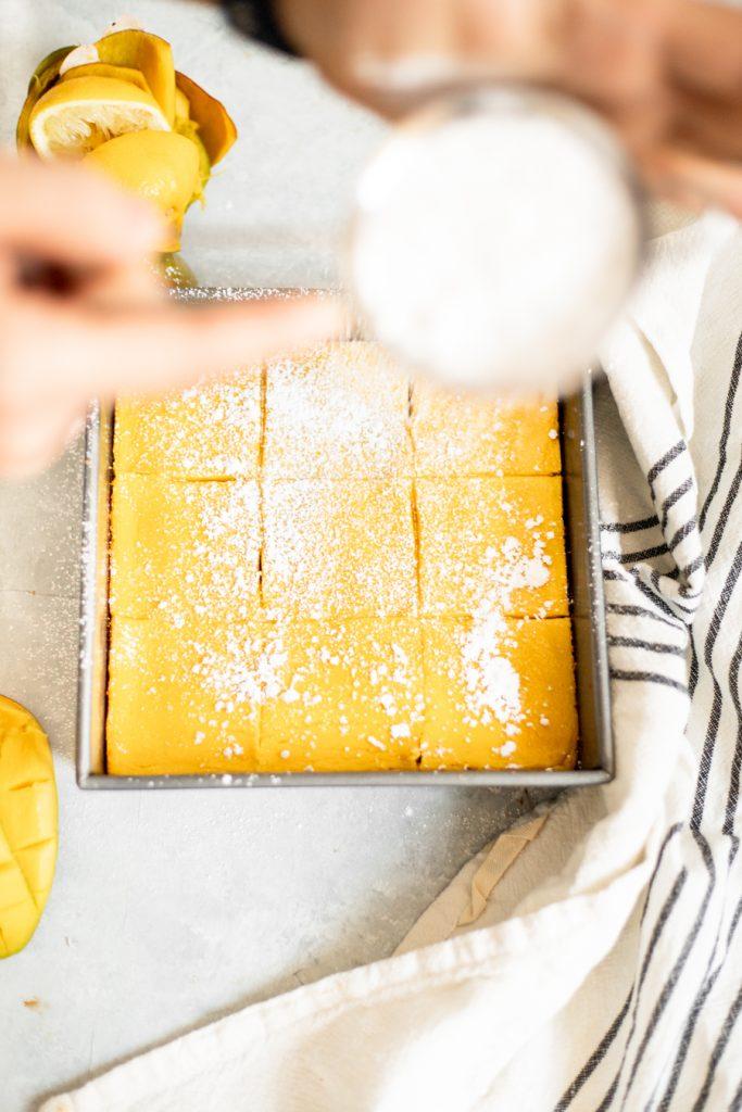 healthy mango bars with powdered sugar
