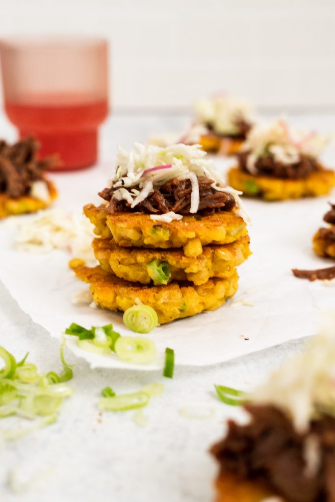 easy corn fritter recipe with bbq beef