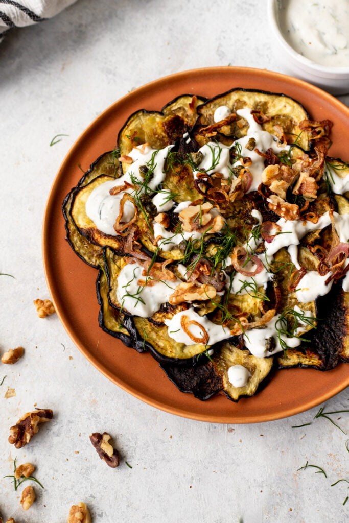 crispy eggplant with yogurt dill sauce